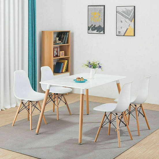 NEW White Eiffel Dining Chairs Plastic Kitchen Lounge Chairs Wooden Legs