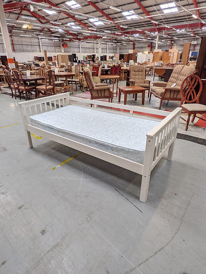Complete White Wooden Single Bed