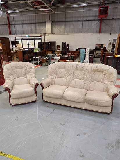 White Leather 3 Seater Sofa And Armchair