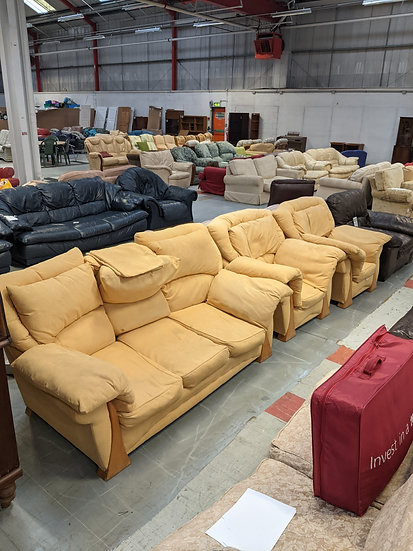 3 Seater Yellow Fabric Sofa and 2 Armchairs