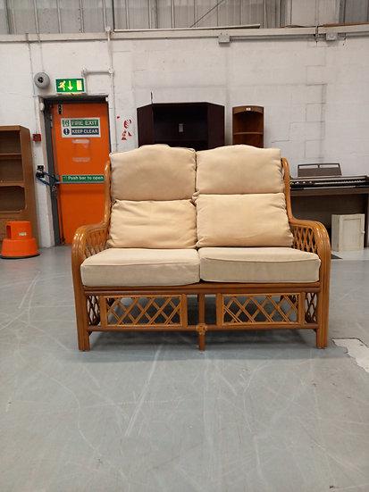 2 Seater Cane Cream Sofa