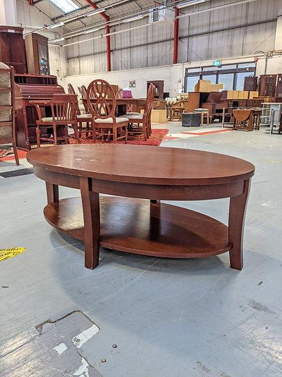 Dark Wood Oval Coffee Table