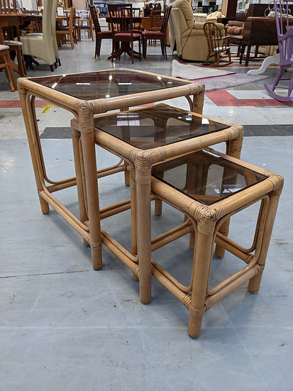 Cane Glass Topped Nest Of 3 Tables