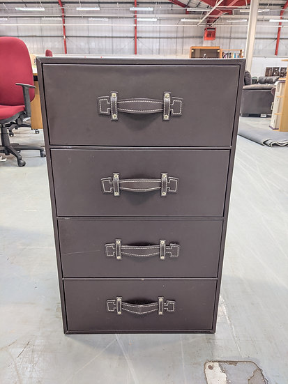 Faux Leather Chest of 4 Drawers