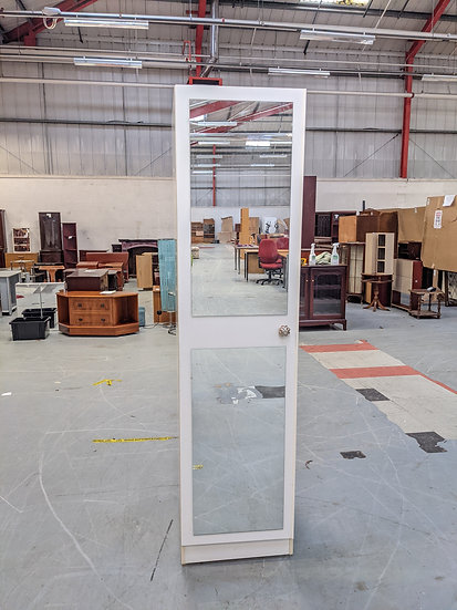 White Wooden Single Wardrobe / Shelving Unit With 2 Mirrors