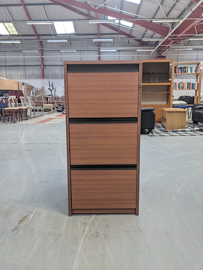 3 Drawer Brown Wood Filing Cabinet With Key