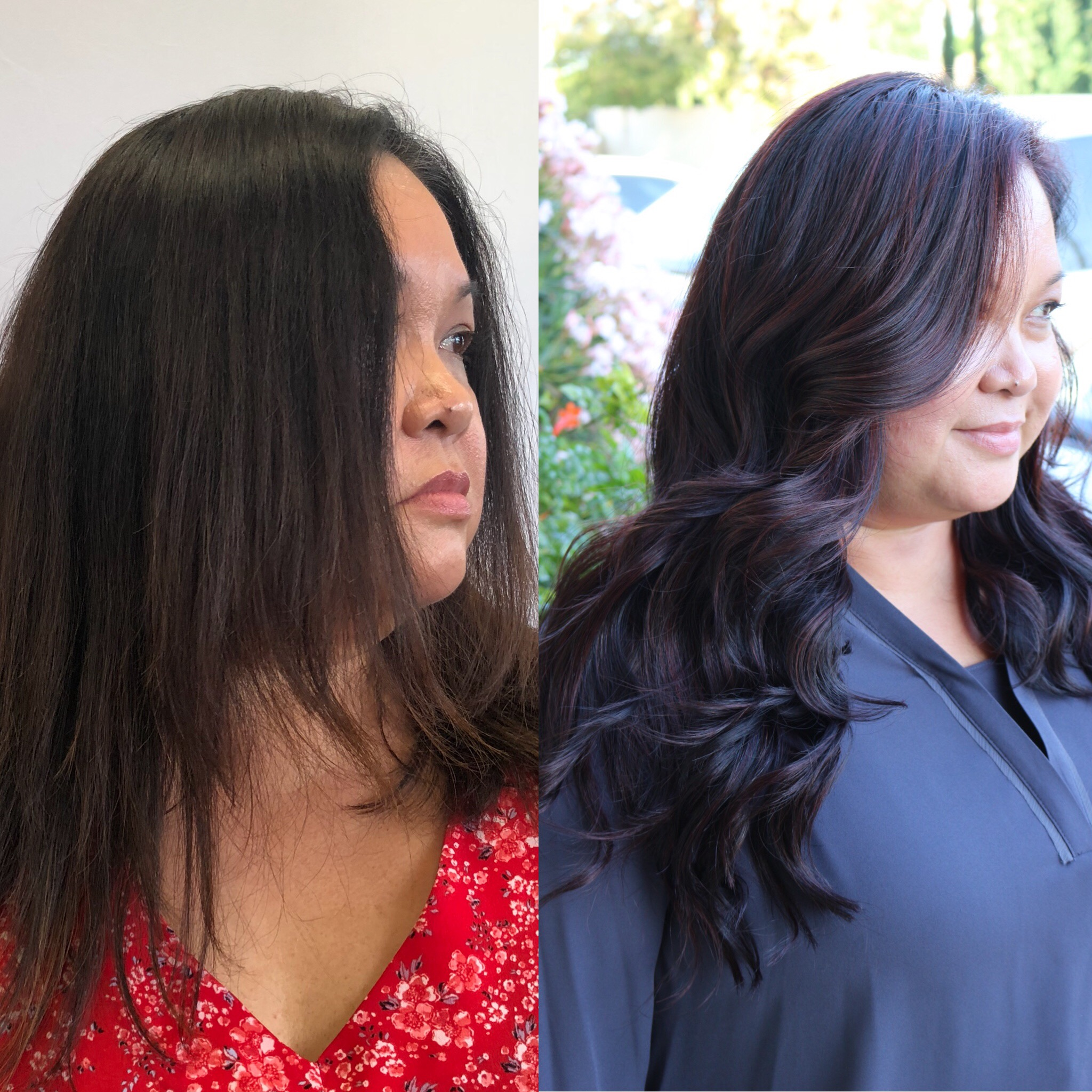 Before & After: color correction plus 3 rows of extensions