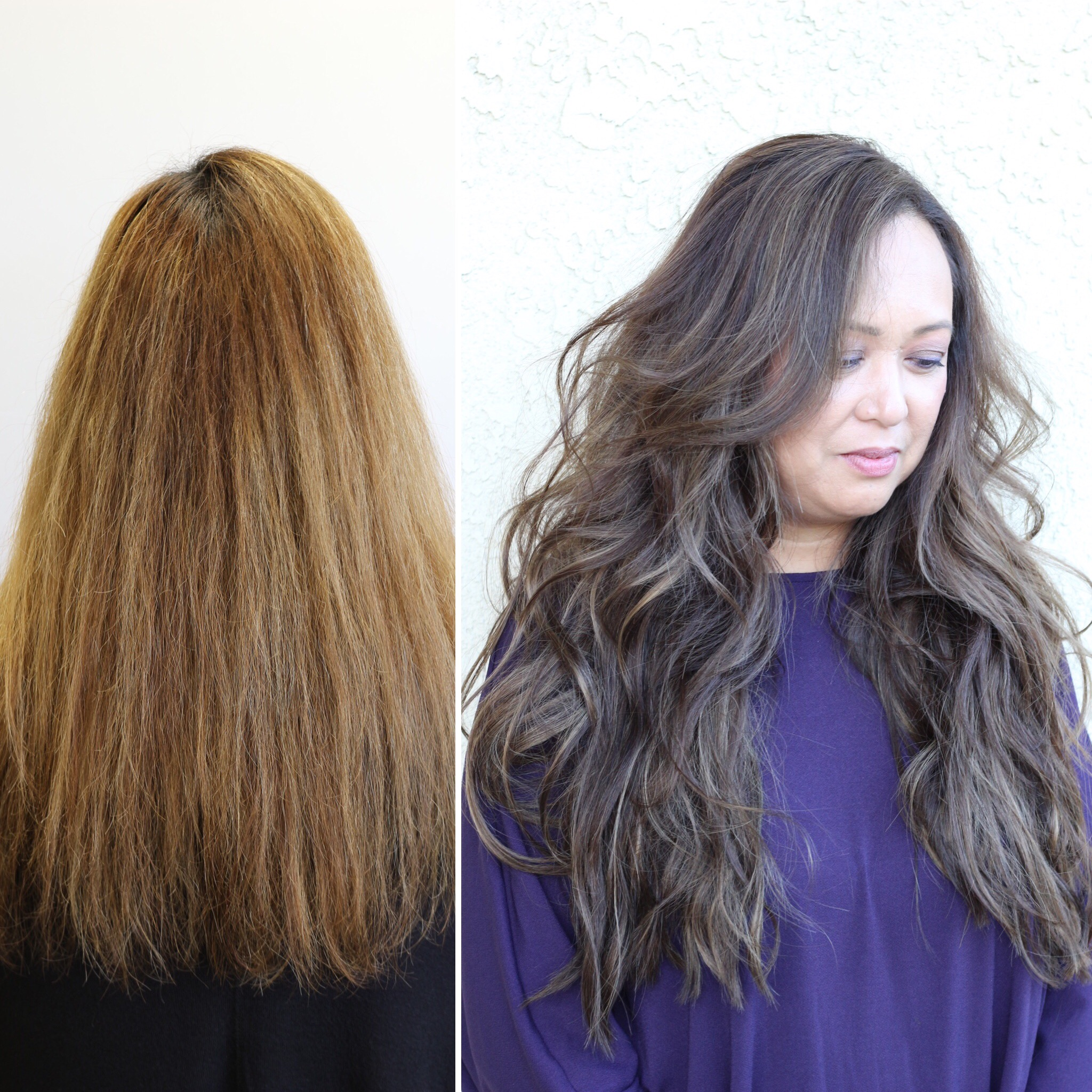 Before & After: a color correction plus 3 rows of extensions for this beauty.