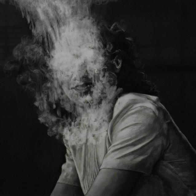 """""""Fog #11""""  2020, Charcoal on paper 54.5 x 73 cm"""