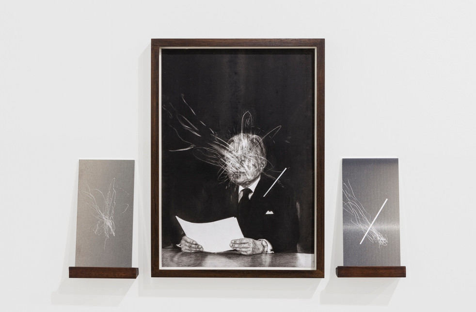 The Symbol #4 (2018) charcoal on paper and 2 engraved metal sheets charcoal on paper: 26.3 x 39.5 cm 2 metal plates: 10 x 20 cm each