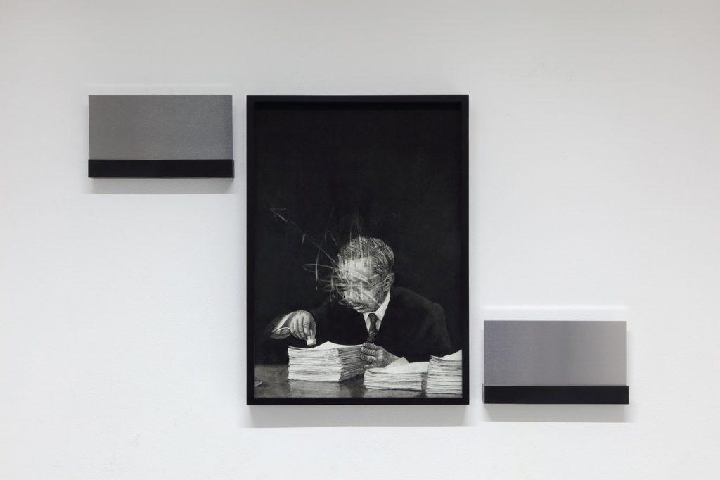The Symbol #8 (2018) charcoal on paper, aluminum plates 42 x 29.7 cm (drawing) / 10 x 20 cm each (aluminum plate)