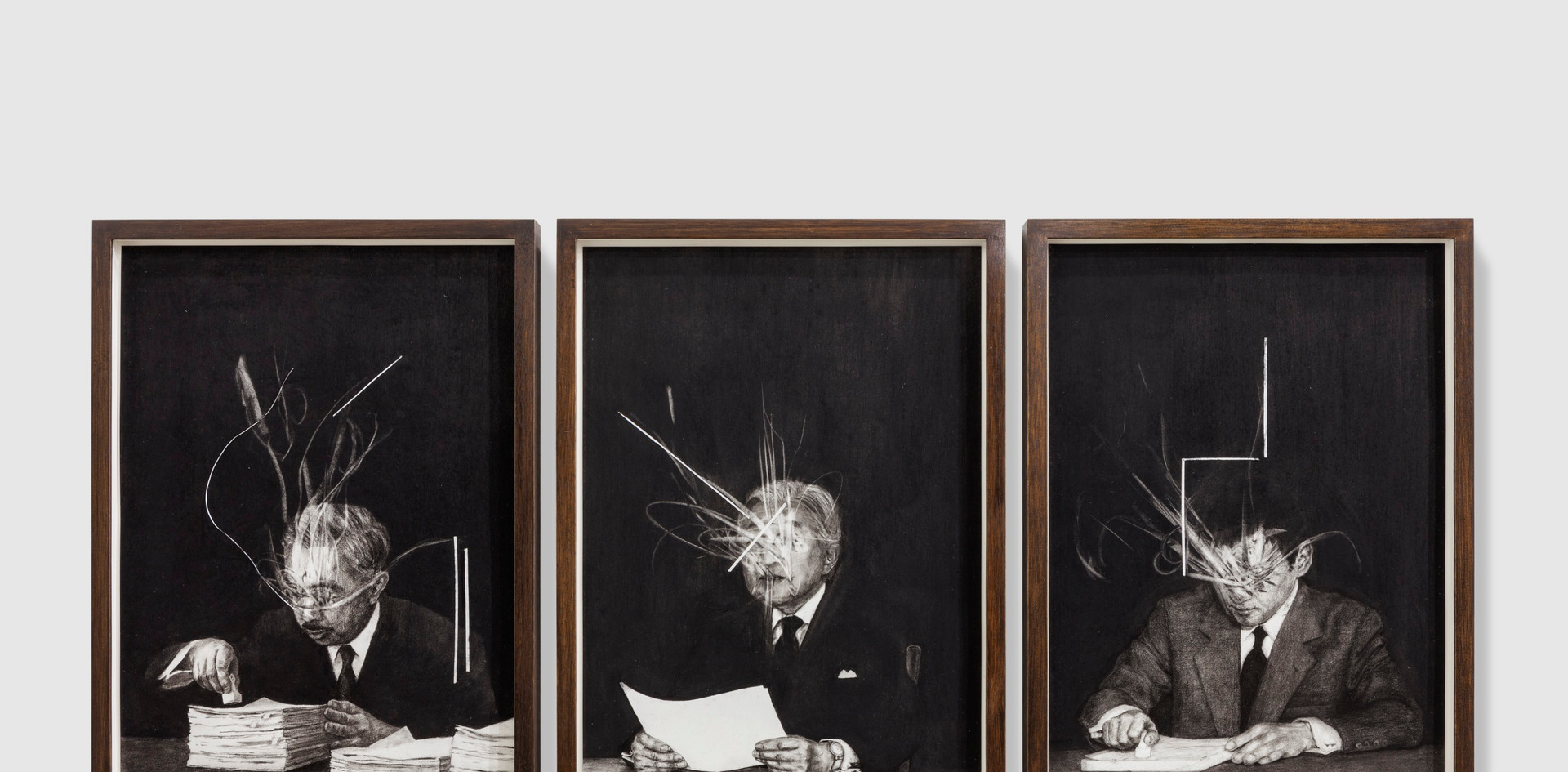 The Symbol #3 (2018) charcoal on paper and wooden frame paper: 42 x 29.7 cm each
