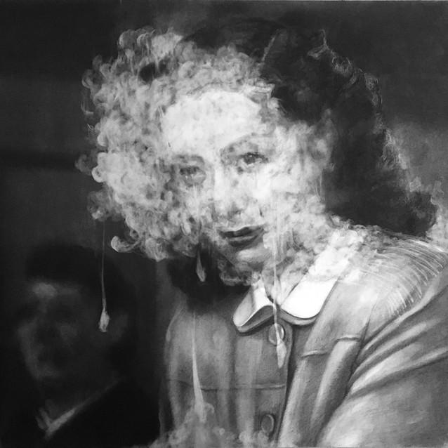"""""""Fog #6""""  2019, Charcoal on paper 54.5 x 73 cm"""