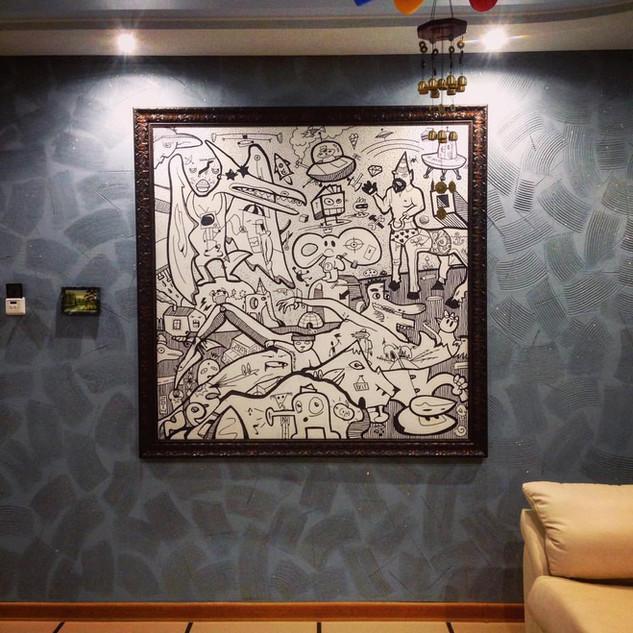 ТУСОВОЧНЫЙ ХУДОЖНИК THE PARTY PAINTER  Acrylic paint, markers 1,5 x 1,5 m 2016