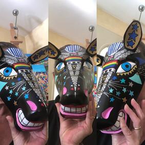 """Masque réalisé pour une vente caritative en soutien au Nicaraguayens exilés au Costa Rica   Paz Nicaragua  Fondation - Miami  """"Mascaras, Rostros de la rébellion""""   22.11.2019"""