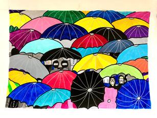 Les parapluies nous protègent