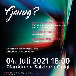 "Konzert: ""Genug"" 04. Juli 2021 - Pfarrkirche Salzburg Gnigl"