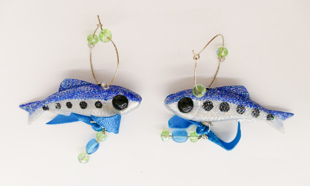 Embarrassment of Fishes (Earrings), 2020 mixed media with fishing lures $25