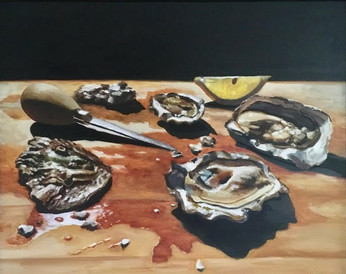 Oysters, Shucker and Lemon Wedge