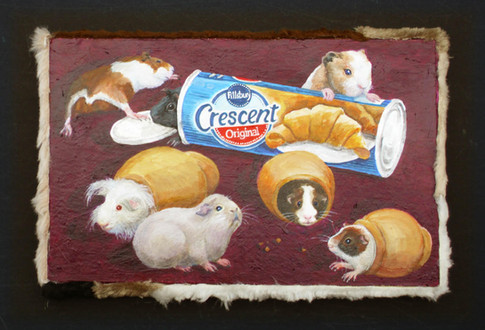 Kelly Lyles, Pigs in a Blanket, 2014, Acrylic on Illustration Board with fake-fur frame