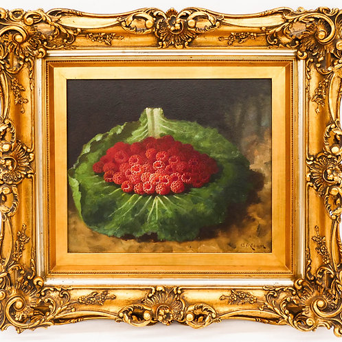 Carducius Ream, Raspberries on Cabbage Leaf