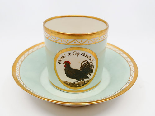 Antique French Hand Painted Rooster Teacup & Saucer