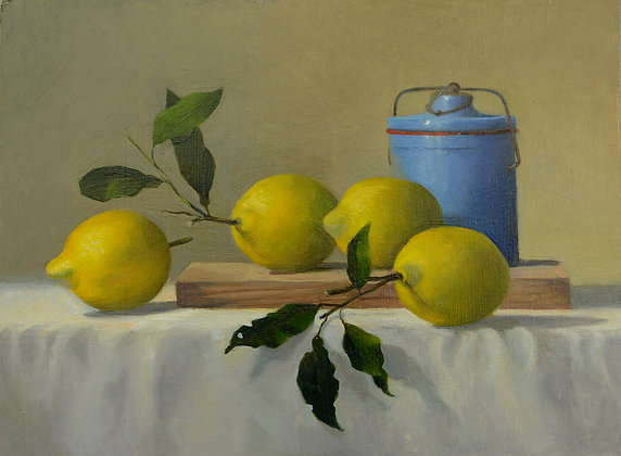 John Rizzotto, Blue Jar with Lemons