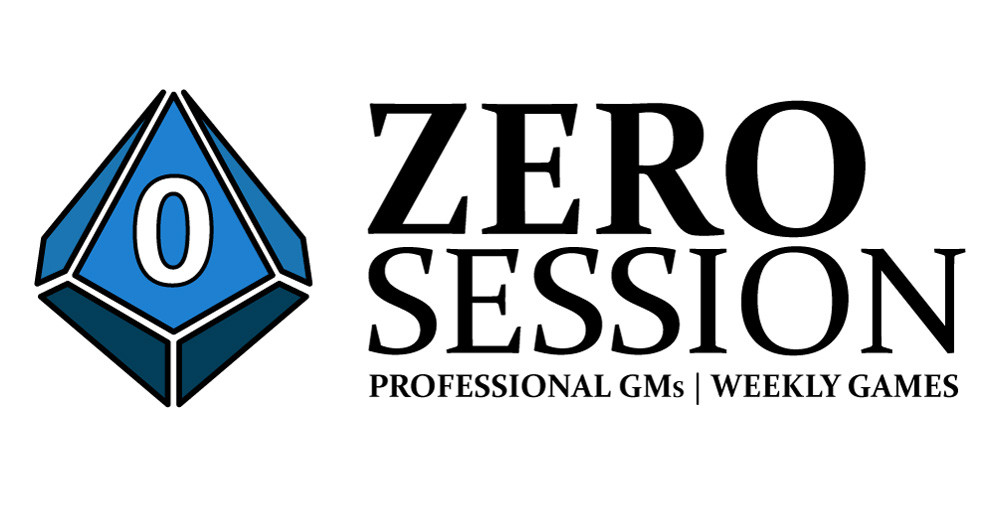 The Zero Session logo which features text about weekly games and pro GMs and a blue ten-sided di or d10