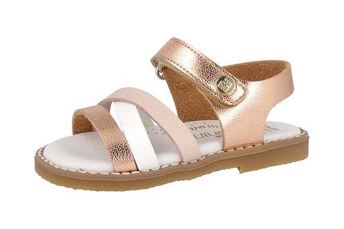 Sandalia de cuero tricolor