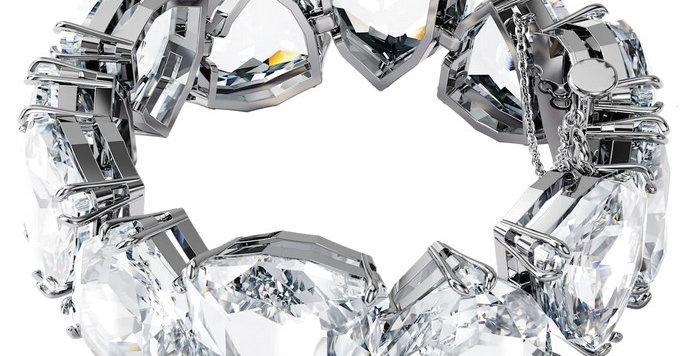 Swarovski armbånd Millenia bracelet Triangle cut crystals, white, rhodium plated
