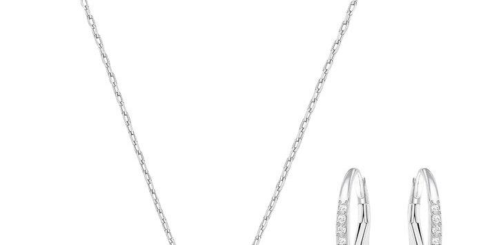 Swarovski smykkesett Sparkling Dance Round, hvitt
