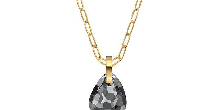 Swarovski smykke T Bar, med grå krystaller