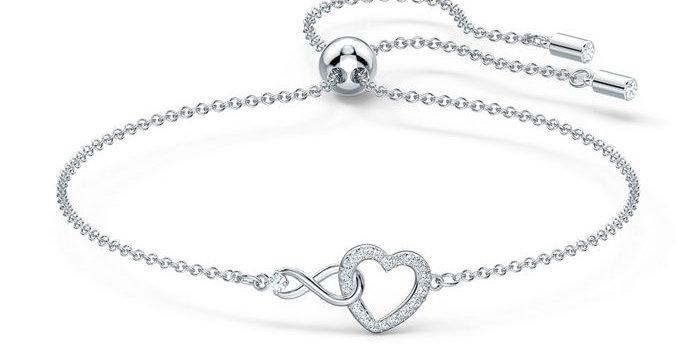 Swarovski armbånd Infinity Heart, hvitt