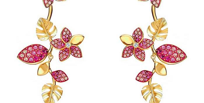 Swarovski øredobber Tropical Flower, gullfarget