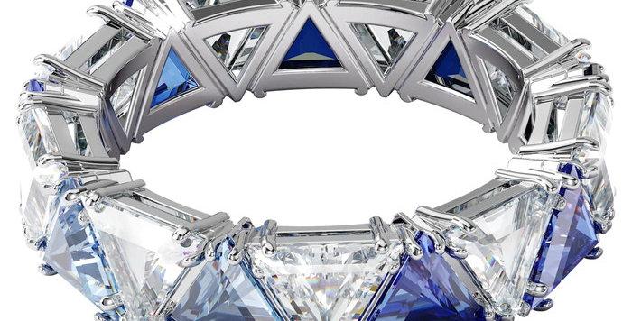 Swarovski Millenia cocktail ring Triangle cut crystals, Blue, Rhodium plated
