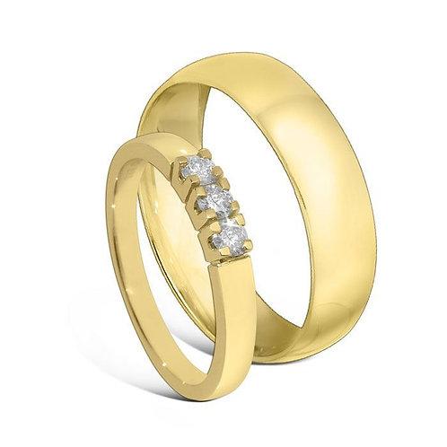 Giftering & diamantring 0,21 ct gult gull, 5 mm. OREST, modell 167