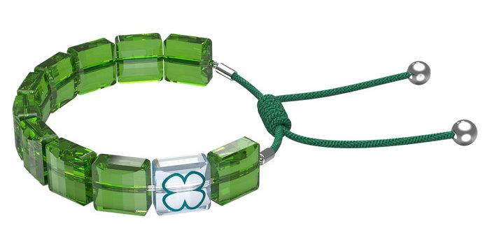 Swarovski armbånd Letra bracelet Clover, Green, Rhodium plated
