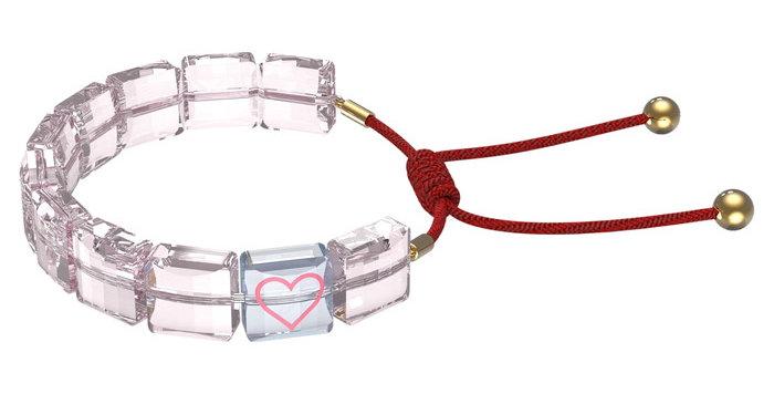 Swarovski armbånd Letra bracelet Heart, Pink, Gold-tone plated