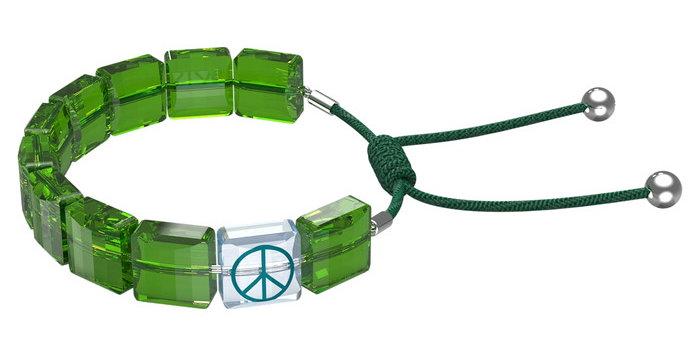 Swarovski armbånd Letra bracelet Peace, Green, Rhodium plated