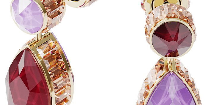Swarovski øredobber Orbita earrings Asymmetrical, Drop cut crystals, white, gold
