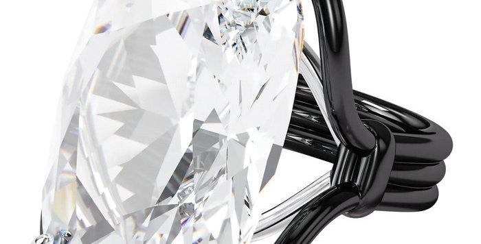 Swarovski Harmonia ring Oversized floating crystal, White, Mixed metal