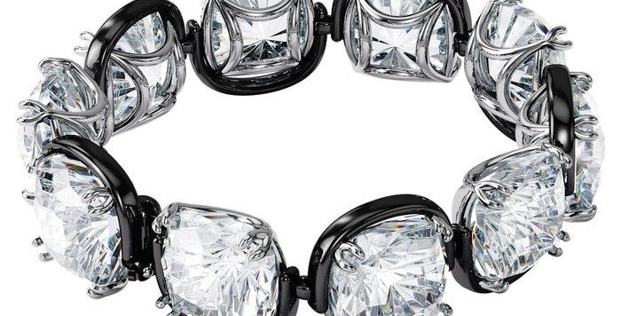 Swarovski årmband Harmonia bracelet Cushion cut crystals, white, mixed metal