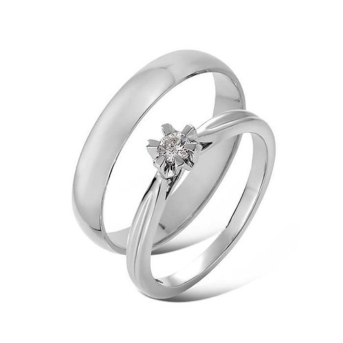 Giftering & diamantring 0,1 ct hvitt gull, 4 mm. OREST, modell 167