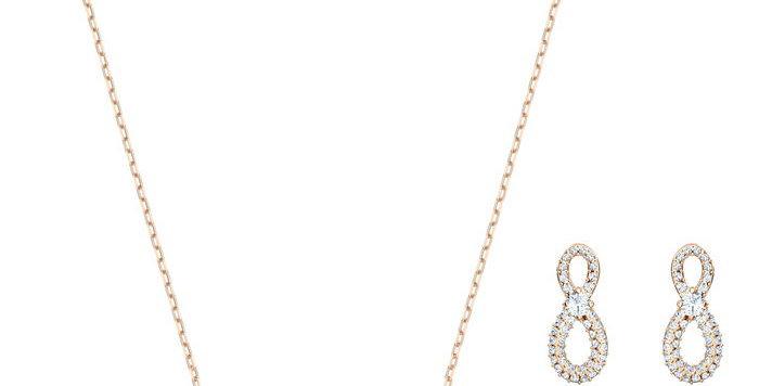 Swarovski smykkesett Infinity Heart, gull