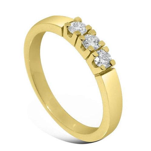 Diamantring forlovelsesring Iselin 3x0,1 ct i 14kt gull