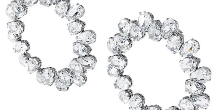 Swarovski øredobber Millenia earrings Circle, White, Rhodium plated