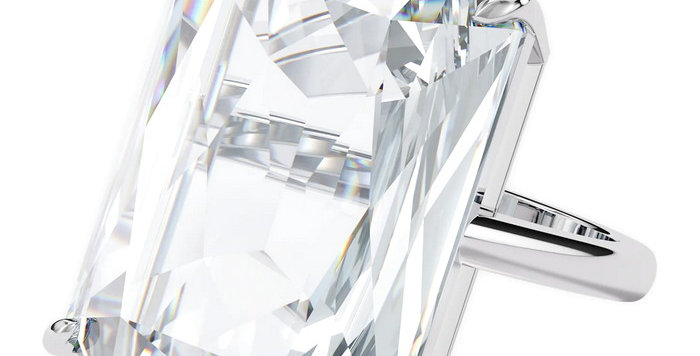 Swarovski Mesmera cocktail ring Oversized crystal, White, Rhodium plated