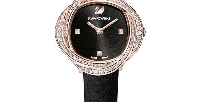 Swarovski klokke Crystal Flower, svart