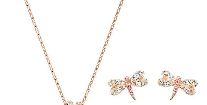 Swarovski smykkesett Eternal Flower Dragonfly, rosa