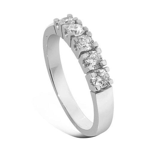 Forlovelsesring diamantring Iselin 5x0,1 ct i 14kt hvitt gull